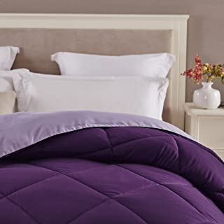 Seward Park Solid, Reversible Color Microfiber Comforter,Hypoallergenic Plush Microfiber Fill, Duvet Insert or Stand-Alone Comforter, Fall/Winter Blanket, Full/Queen, Plum/Purple
