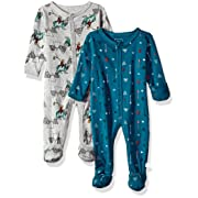 Rosie Pope Baby Boys Coveralls 2 Pack, Navy and Gray Camping Theme, 3-6 Months