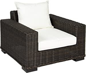 Best Choice Products Oversized Outdoor Patio Wicker Club Arm Chair w/Aluminum Frame, White Cushion