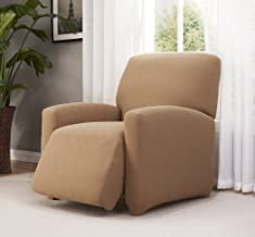 Madison Check-LGRECL-BG Checkerboard Large Recliner Slipcover, Larger Recliner, Beige
