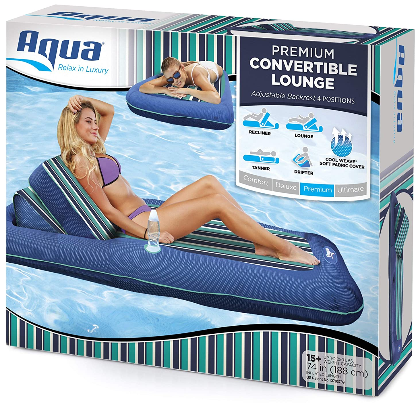 "Aqua Premium Convertible Pool Lounger, Heavy Duty, X-Large, Inflatable Pool Float, 74"" – 90"", Navy/Green/White Stripe"