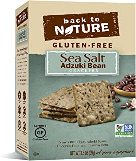 Back to Nature Gluten Free Crackers, Non-GMO Adzuki Bean & Sea Salt Rice Thins, 4 Ounce