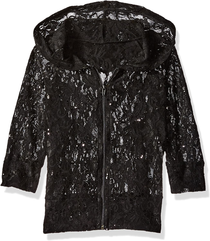 Gia Mia Girls' Over item handling ☆ Big Glitzy Lace Mesh Hoodie Under blast sales Jacket Dance Stretch