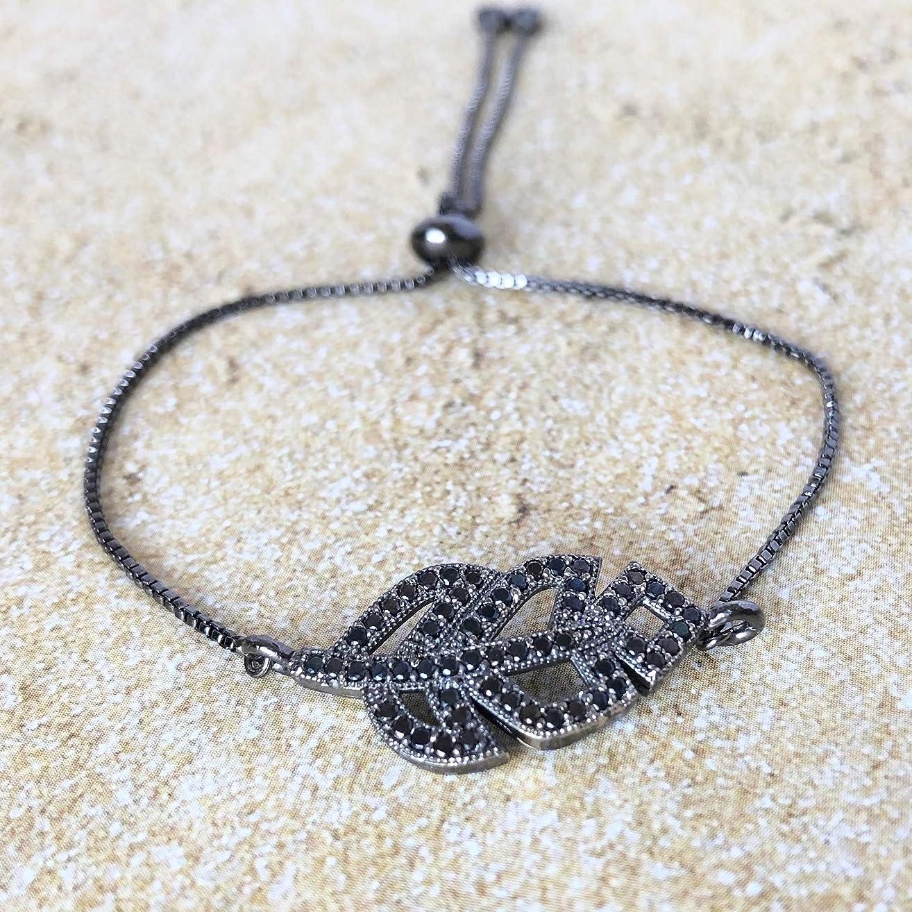 Adjustable CZ Leaf Charm Bracelet for Women Girls - Nature Inspired Jewelry - Nature Lovers Gift - Bolo Bracelets Sliding Clasp
