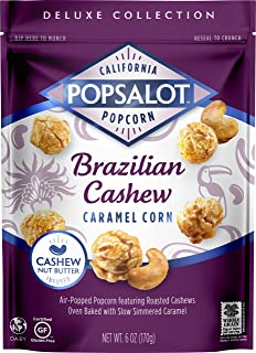 Popsalot Gourmet Popcorn Deluxe Collection, Brazilian Cashew Caramel Corn, 6.0 Ounce