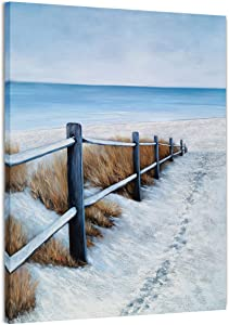 YHSKY ARTS Beach Canvas Wall Art - Blue and White Painting with Fence, Modern Abstract Coastal Pictures for Living Room Bedroom Bathroom Decor