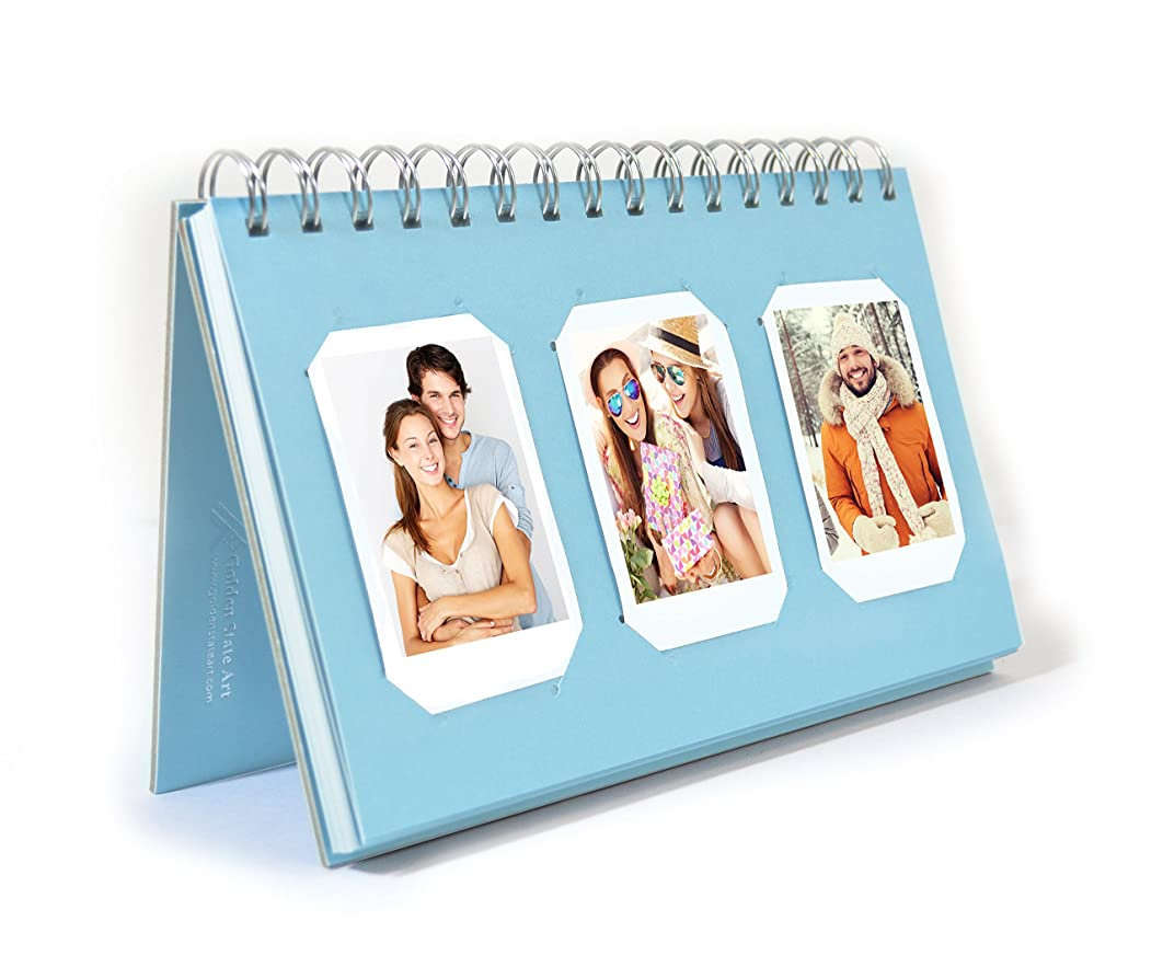 Golden State Art, Instax Frames Collection,Photo Album Book Style 60 Pocket for Fuijufilm Instax Mini 7S 8 70 90 25 50S 8+ Film (Light Blue)