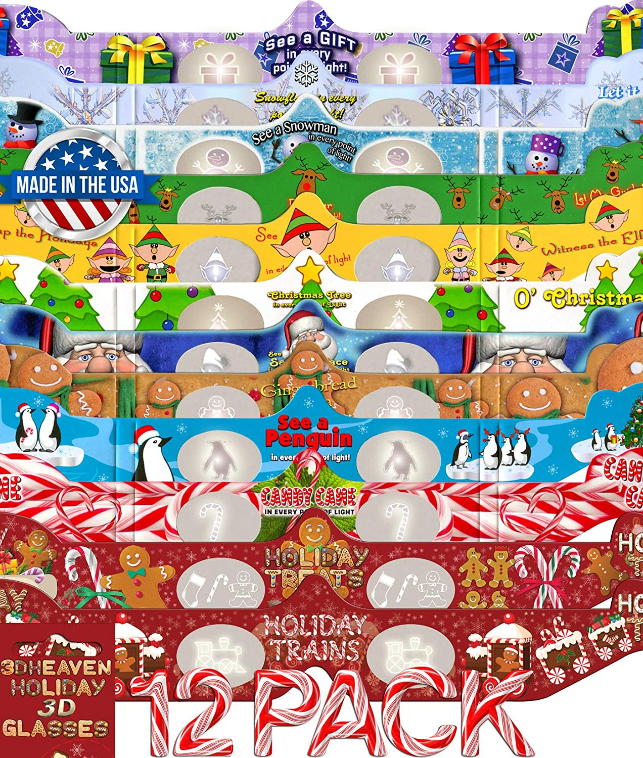 Holiday 3D Glasses Al sold out. 12 Pack Exclusive Challenge the lowest price Treats with Styles