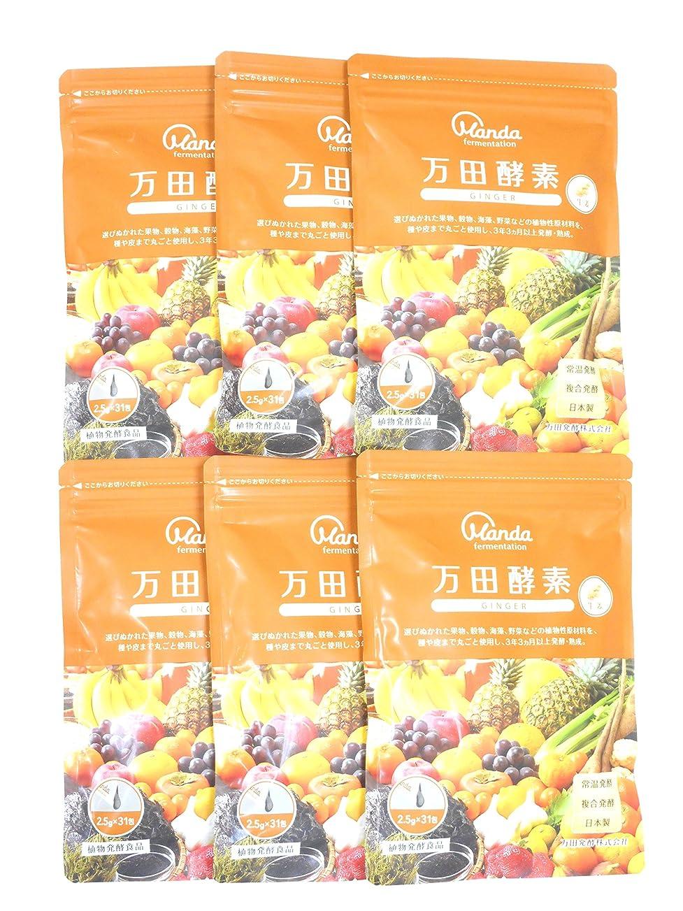 ビクター財政ドロー万田酵素 GINGER 分包タイプ 77.5g (2.5g×31包) X6個セット