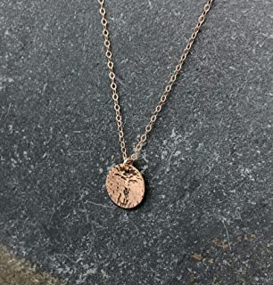Disc Necklace Hammered Rose Gold Filled 20 inch chain length