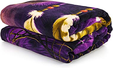 "Dawhud Direct Super Soft Full/Queen Size Plush Fleece Blanket, 75"" x 90"" (Wolf Dreamcatcher)"