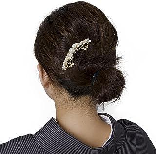 【メール便対応】花しおり かんざし 簪 ゴールド パール調 着物 髪飾り 髪留め 着物タウン 3871-1 3871-2
