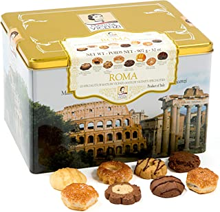 Matilde Vicenzi Roma Gift Tin | Assortment of Patisseries, Pastries, Cookies | Made in Italy | 32oz (907g) Decorative Tin