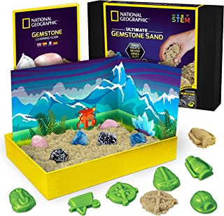 NATIONAL GEOGRAPHIC Gemstone Play Sand - 2 lb of Play Sand, 6 Molds, 6 Real Gemstones, A Kinetic Sensory Sand Activity Kit...
