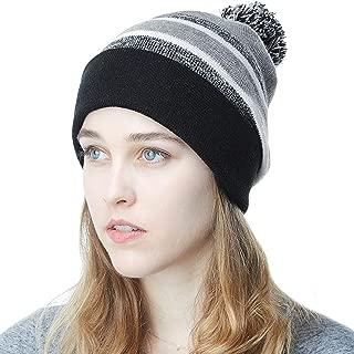 Winter Soft Unisex Cuff Pom Pom Stripe Knit Beanie Skull Slouch Hat