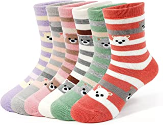 Girls Winter Thick Cotton Socks Kids Warm Lovely Bear Socks 6 Pack