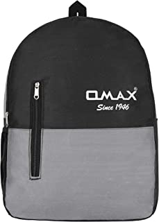 OMAX Casual Lightweight Single Compartment Backpack for Everyday Use Small Documents Files Notebook Holder Easy to Carry Adjustable Padded Shoulder Straps Convenient Side Water Bottle Pockets