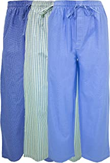 Men's 3 Pack Super Soft Woven Pajama & Sleep Long Lounge Pants- Assorted Various Plaids