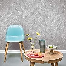 Graham and Brown 32-611 Strata Herringbone Wood Imitating Paste-The-Wall Non-Woven Wallpaper