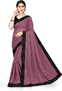 SOURBH New Fancy Lycra Embellished Contrast Border Woven Saree For Women With Blouse Fabric