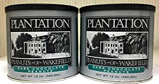 Plantation Dark Chocolate Peanuts - 2 PACK Kosher & Gluten Free Select High Quality Time Honored Virginia Recipe Dark Chocolate Covered Peanuts (2-12 oz Tins)