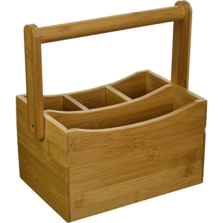 Intriom Cutlery Holder Flatware Caddy Silverware Caddy Tableware Tabletop Holder with Swing Handle Made of Organic Bamboo Bamboo Collection