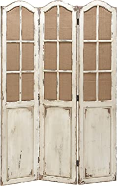 "Deco 79 Benzara Simple And Elegant Folding Wooden Screen With Panelled Design, 71"" H x 48"" L, White and Tan Finishes"