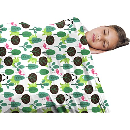 Sensory Blanket for Kids - Comfortable Compression Bedding - Cuddle Light Soft Sheets - Stretchy Lycra Quality Blankets for Boys, Girls & Toddler (Twin, White and Green)