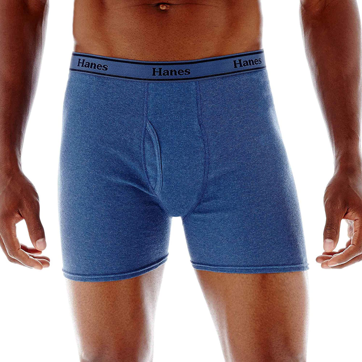 Hanes Ultimate Men's 4-Pack FreshIQ Tagless Cotton Boxer with ComfortFlex Waistband Briefs, Assorted Blues, Large