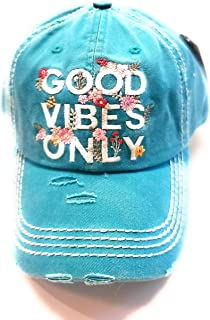 Womans Baseball Hat Vintage Distressed Embroidered Good Vibes Only Cap 100% Cotton Aqua Blue Snap Back Flowers Vibes