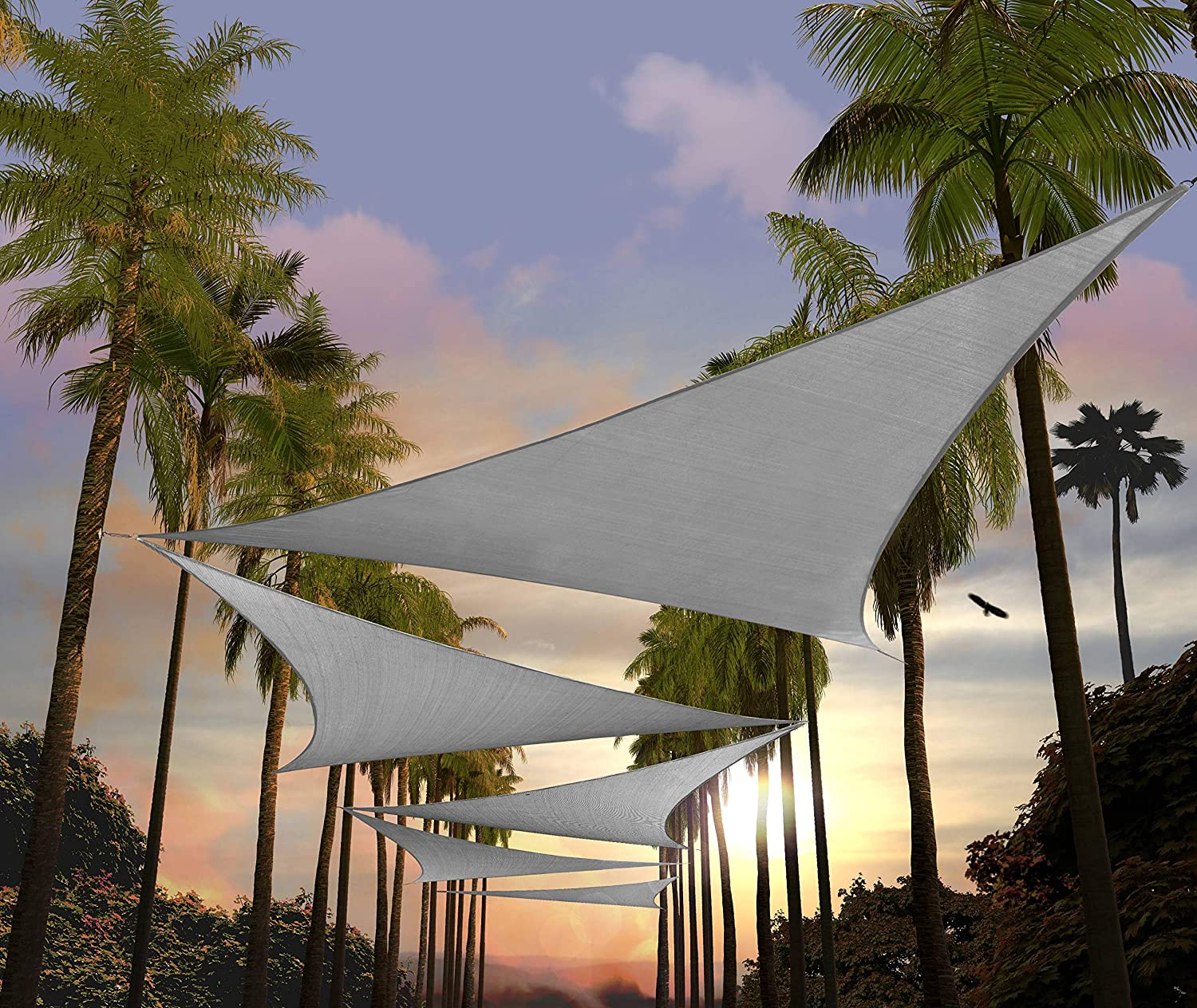 Amgo 14' Ranking TOP3 x Sales results No. 1 Grey Triangle Shade Sun Sail Canopy Awning