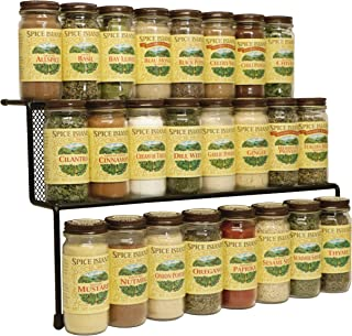 KitchenEdge 2-Tier Elevated Spice Rack Storage Organizer for Cabinets, Holds 16 Spice Jars and Bottles