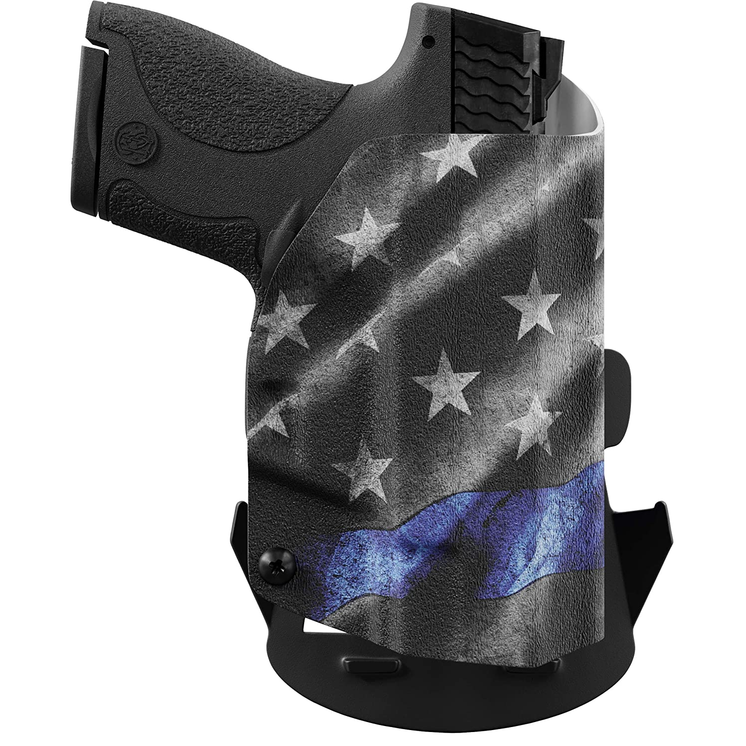 We The People - Thin Blue Line - Outside Waistband Concealed Carry - OWB Kydex Holster - Adjustable Ride/Cant/Retention