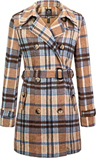 Wantdo Women's Double Breasted Pea Coat with Belt
