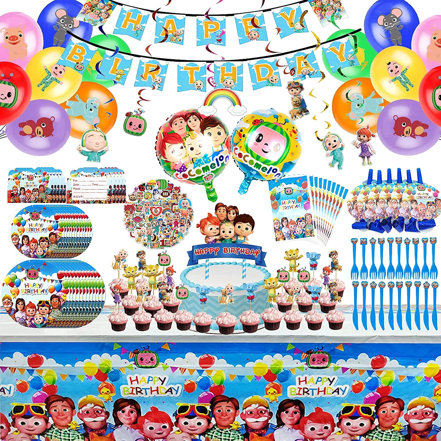 Cocomelon Super beauty product restock quality top Birthday Party Supplies Coco Par Large special price !! 165Pcs Melon
