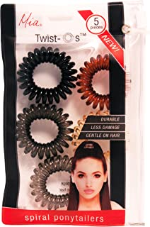Mia Twist O's, Spiral Hair Elastics, Convenient Zippered Storage Pouch, GENTLE On The Hair, Black, Charcoal Gray, Clear Gray, Brown, Cream 5pcs