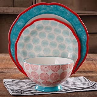Happiness Rim Scalloped 12-Piece Dinnerware Set, Red, The Pioneer Woman
