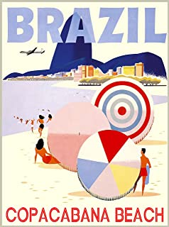 A SLICE IN TIME Brazil Rio de Janeiro Beach South America Vintage Travel Advertisement Collectible Wall Decor Poster Print. Measures 10 x 13.5 inches
