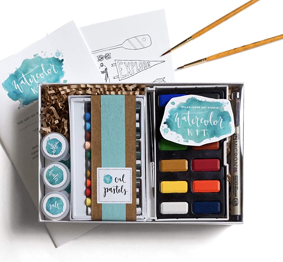 DIY Watercolor Kit for Beginners - Includes Project Guides & Detailed Instructions - Wildflower Art Studio's Signature