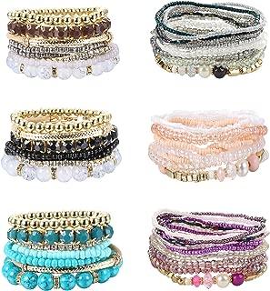 6 Set Bohemian Stackable Bead Bracelets for Women Girls Colorful Bangle Bracelets Multilayer Stretch Stackable Bracelets