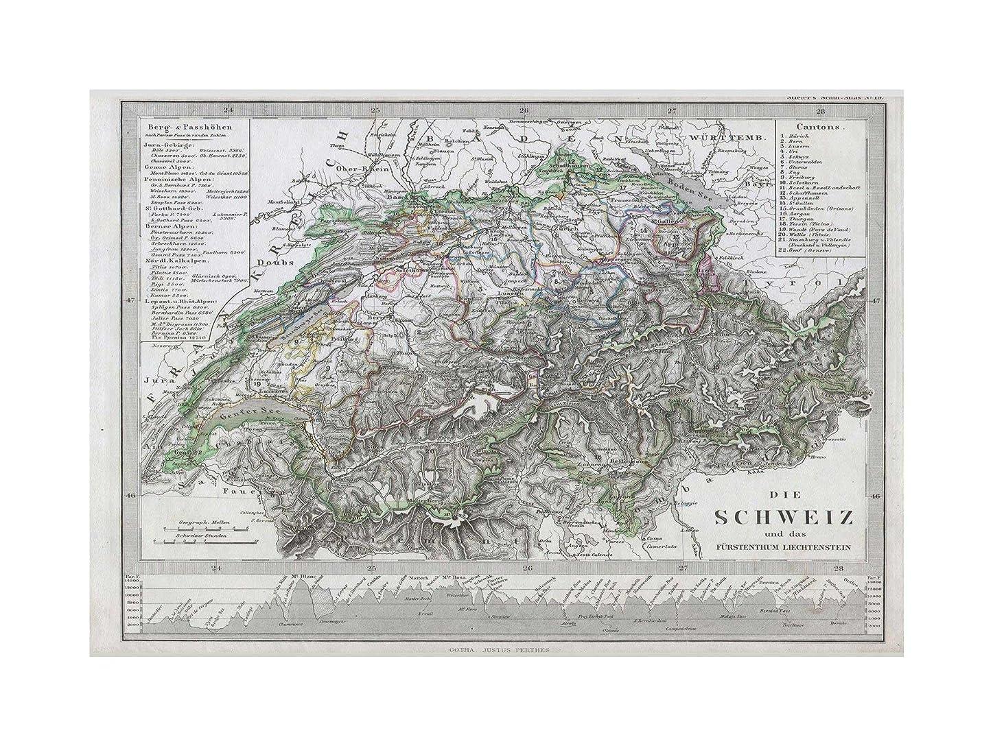 テスト文明気楽なMap Antique Stieler Switzerland Wall Art Print 地図アンティークスイス壁