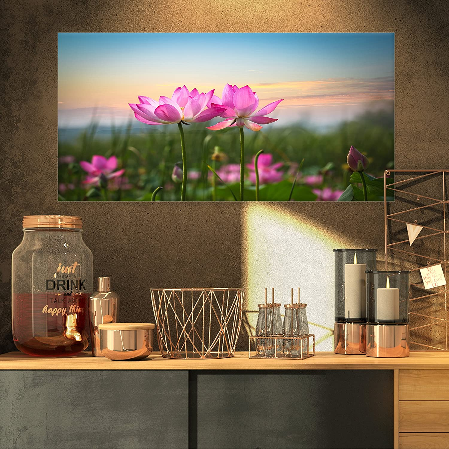 Design Art PT9674-32-16 Blooming Lotus Flowers at Sunset Floral Photo Canvas Print, 32x16, Pink