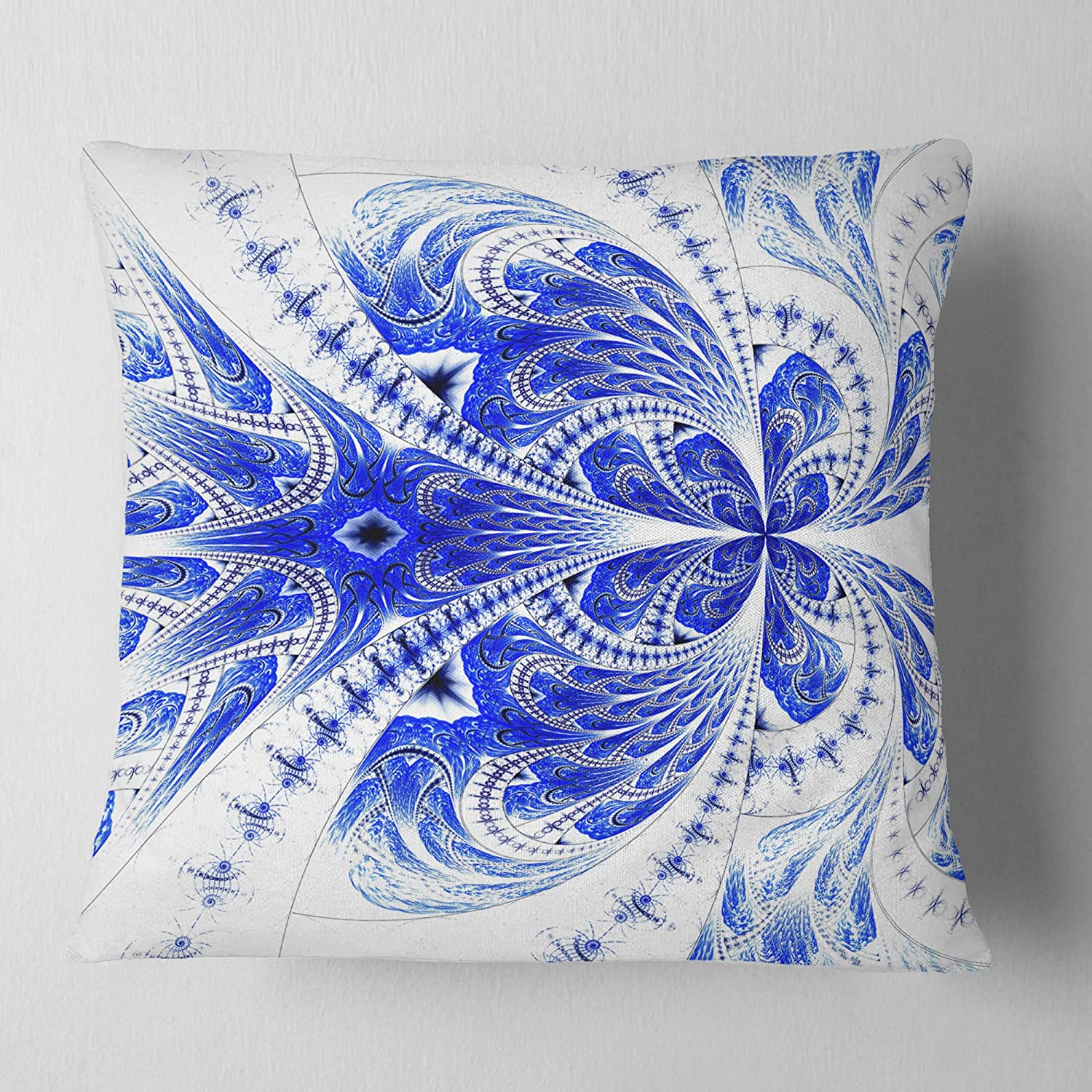 Amazon Com Designart Symmetrical Soft Blue Fractal Flower Floral Throw Living Room Sofa Pillow Insert Cushion Cover Printed On Both Side 26 In X 26 In Arts Crafts Sewing