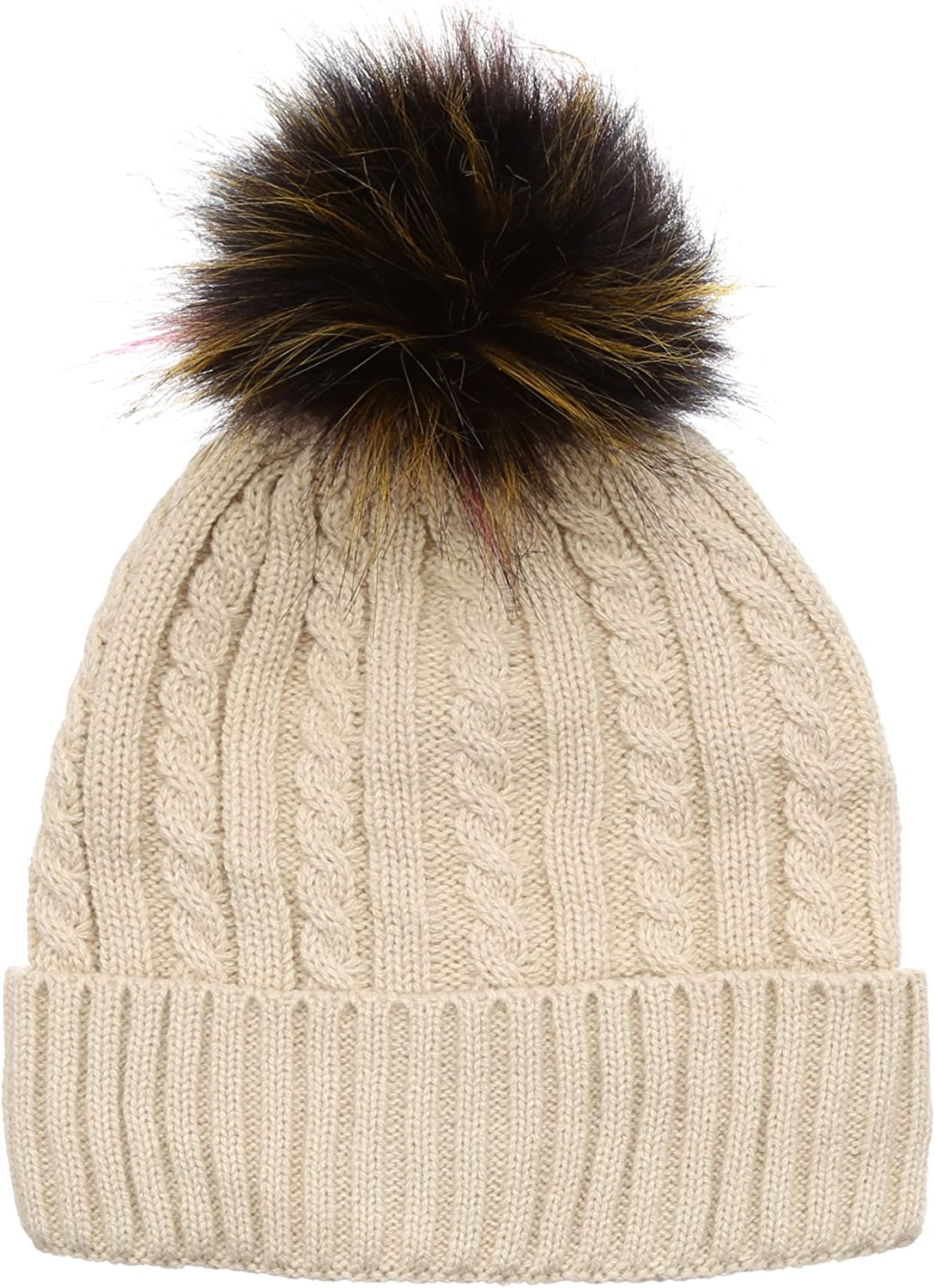 MIRMARU Winter 5 ☆ very popular Cable Knitted Faux Fur Beanie 2021 Pom Color Multi