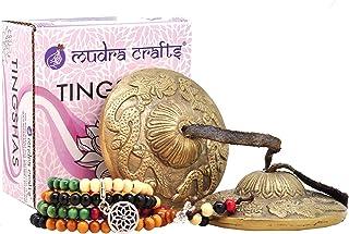 Mudra Crafts Tibetan Handmade Yoga Meditation Om Tingsha Bell Chimes Cymbal Set, Wood Mala with a Mandala Charm (2.5 Inche...