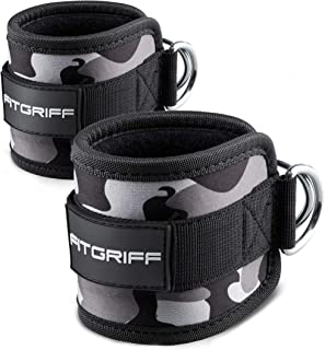 Fitgriff® Ankle Straps for Cable Machines - Padded Ankle Cuffs (2 pieces) - Gym, Workout, Kickback Exercise for Women and Men