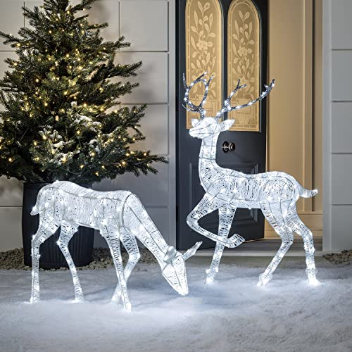 Lights4fun Light Up LED Glitter Christmas Doe & Stag Pair for Indoor Outdoor  Use - Christmas Outdoor Decoration: Amazon.co.uk