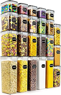 Wildone Airtight Food Storage Containers - BPA Free Cereal & Dry Food Storage Containers Set of 23 for Sugar, Flour, Snac...