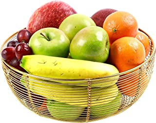 Geometric Fruit Baskets for Kitchen Countertops, Gold Wire Fruit Bowl for the Counters, Golden Finish, 10 x 4 Inches Large