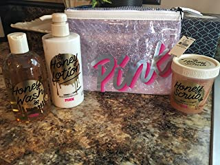 VICTORIA SECRET - HONEY SCRUB HONEY LOTION AND HONEY WASH GIFT SET 9 8.0 OZ LOTION 8.4 MIST & BODY SCUB) SET WITH MAKEUP COSMETIC TRAVEL. NEW OUT.
